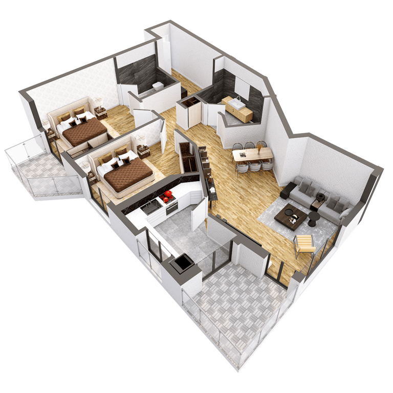 Plan 3d Apartament Herastrau Parkview Tip d 3 camere