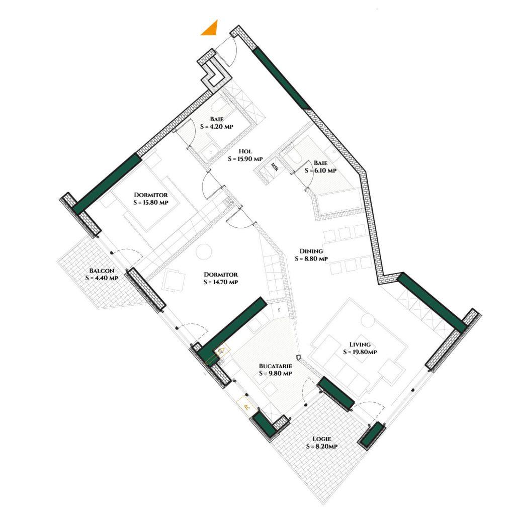 Plan 2d Apartament Herastrau Parkview 3 camere Tip D-100